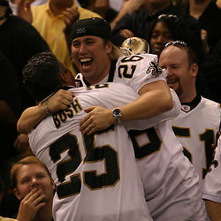 13 January 2007: New Orleans Saints fans celebrate in the stands in the fourth quarter of a 27-24 win by the New Orleans Saints over the Philadelphia Eagles in the NFC Divisional round playoff game at the Louisiana Superdome in New Orleans, LA. The win advanced the New Orleans Saints to the NFC Championship game for the first time in the franchise's history.