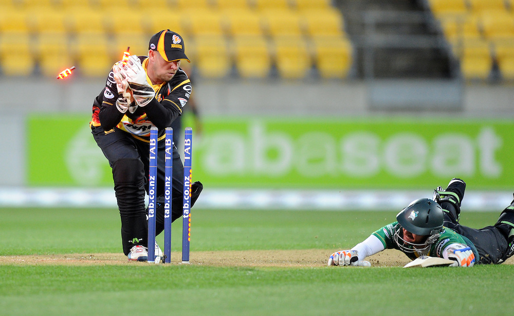 Wellington Firebirds Michael Papps attempts unsucessfully to run out Central Stags Kruger van Wyk in the HRV T20 cricket match at Westpac Stadium, Wellington, New Zealand, Friday, November 22, 2013. Credit:SNPA / Ross Setford