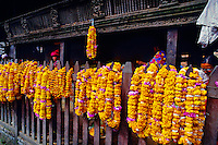 Garlands of marigolds (Hindu offerings), Kasthamandap Temple, Durbar Square, Kathmandu, Nepal