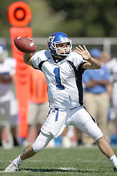 15 September 2007:  Vince Palmer steps up to make a pass. The Titans stood toe to toe with the 25th ranked Lions through the first half but ended the game on the losing end of a 25-15 score at Wilder Field on the campus of Illinois Wesleyan University in Bloomington Illinois.