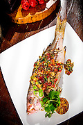 Grilled whole coconut snapper with guava salsa -- photographed for Chef Alan Hughes' seafood cookbook