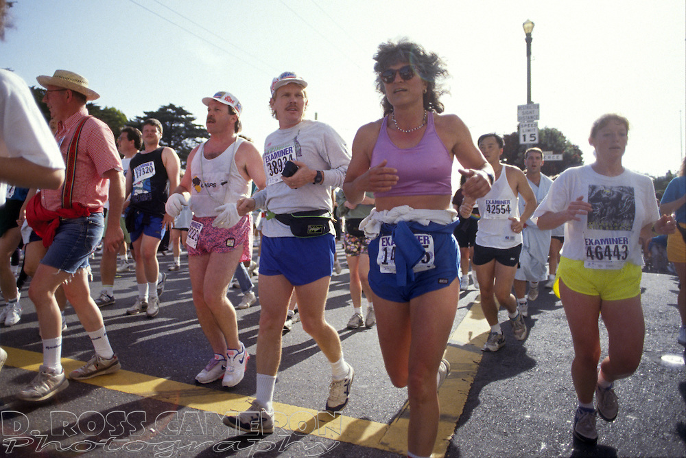 Joggers crest the Hayes Street hill at the 81st running of the Bay to Breakers 12K race, Sunday, May 17, 1992 in San Francisco. (Photo by D. Ross Cameron)