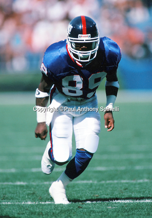 New York Giants wide receiver Gary Harrell (89) goes out for a pass during the NFL preseason football game against the Cleveland Browns on Aug. 6, 1995 in Cleveland. The Giants won the game 19-13. (©Paul Anthony Spinelli)