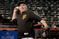 PHOENIX, AZ - APRIL 06:  Bruce Bochy #15 of the San Francisco Giants plays catch on the field prior to the game against the Arizona Diamondbacks at Chase Field on April 6, 2017 in Phoenix, Arizona.  (Photo by Jennifer Stewart/Getty Images)