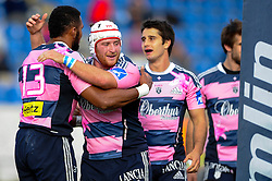 Stade Francais Hooker (#2) Pierre Rabadan hugs Outside Centre (#13) Waisea Vuidarvuwalu after the latter scores a try in the first half - Photo mandatory by-line: Rogan Thomson/JMP - Tel: Mobile: 07966 386802 13/10/2012 - SPORT - RUGBY - Kassam Stadium - Oxford. London Welsh v Stade Francais - European Challenge Cup