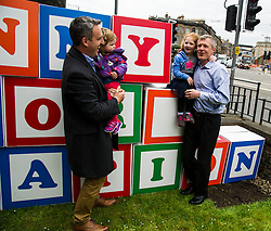 Pictured: Alex Col-Hamilton and his daughter  Darcy along with Alexa Lang helped Willie Rennie build his pledge<br /> <br /> Scottish Liberal Democrat leader Willie Rennie made his final pitch for votes today as he unveiled large building blocks that spelt out the party's flagship &quot;Penny for education&quot; policy. Scottish Liberal Democrats HQ, 4, EH12 5DR. Adam Clarke 07450 980 386.the election on Thursday.<br /> <br /> Ger Harley | EEm 2 May 2016