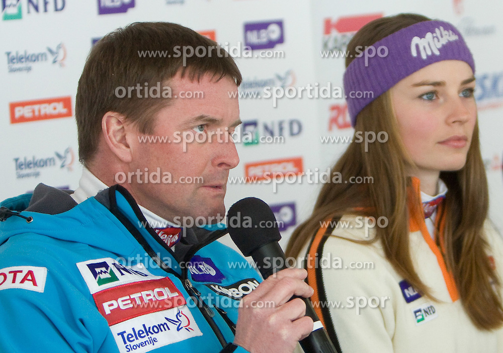 Matjaz Sarabon and Tina Mazi  at press conference after Slovenian T. Maze won silver medal at Ski World Championships Val d'Isere 2009, on February 16, 2009, in Hotel Larix, Kranjska Gora, Slovenia. (Photo by Vid Ponikvar / Sportida)
