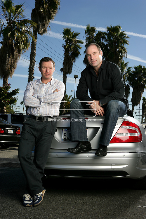 31st January 2008, Los Angeles, California. As one of the largest celebrity news agencies, Splash News and Picture Agency supply pictures and video to newspapers, magazines and television internationally. Pictured is Splash President Kevin Smith (light striped shirt) and CEO Gary Morgan  (black shirt). PHOTO © JOHN CHAPPLE / REBEL IMAGES.john@chapple.biz    www.chapple.biz
