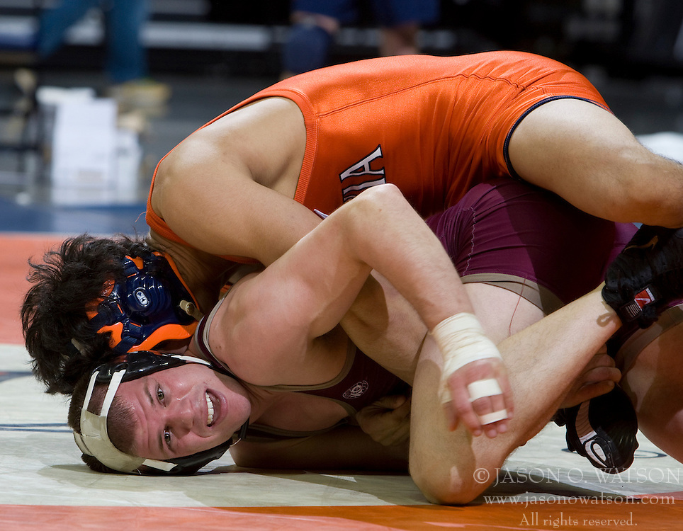 Matt Perry of Apprentice is held to the mat by UVA's Peter Ferrara in a 149 lb bout.  The 2008 Virginia Intercollegiate Wresting Championships were hosted by the University of Virginia at the John Paul Jones Arena in Charlottesville, VA on January 5, 2008.