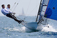 Mike Lennon and Andy Rice sailing downwind during the 2008 POW Cup Race at Weymouth