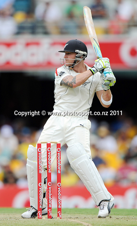 Brendon McCullum batting on Day 1 of the first cricket test between Australia and New Zealand Black Caps at the Gabba in Brisbane, Thursday 1 December 2011. Photo: Andrew Cornaga/Photosport.co.nz