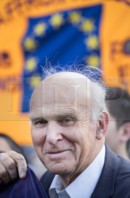 © Licensed to London News Pictures. 09/09/2017. London, UK. Liberal Democrat Party Leader Vince Cable joins the pro-EU People's March For Europe in central London. Speakers including Sir Bob Geldof, Sir Ed Davey and Liberal Democrat leader Vince Cable will address a rally in Parliament Square. Photo credit: Peter Macdiarmid/LNP