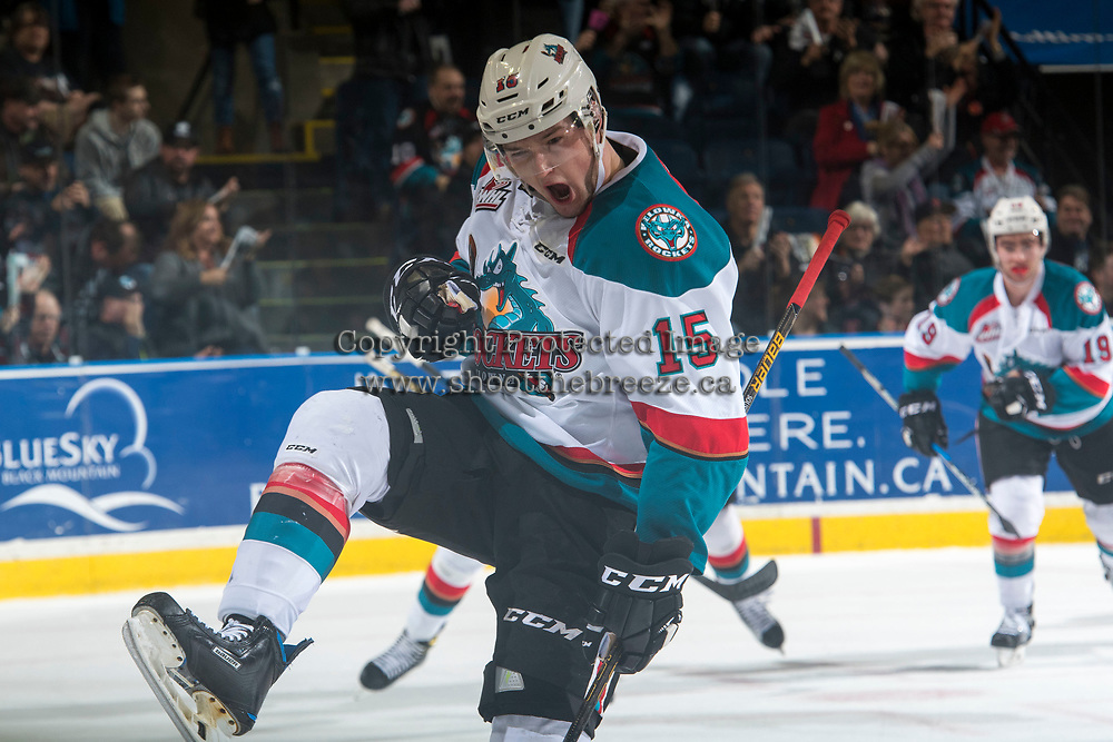 KELOWNA, CANADA - MARCH 24: Tomas Soustal #15 of the Kelowna Rockets celebrates the second goal of the first period against the Kamloops Blazers on March 24, 2017 at Prospera Place in Kelowna, British Columbia, Canada.  (Photo by Marissa Baecker/Shoot the Breeze)  *** Local Caption ***