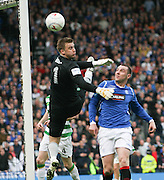 Artur Boruc flaps at this cross as Kris Boyd lurks during the League Cup final between Rangers and Celtic at Hampden Park -<br /> David Young