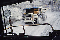 Large mining truck. Town of Faro. Canada's largest open-pit lead-zinc mine.