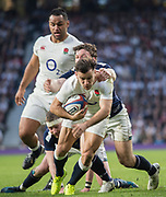 Twickenham, United Kingdom. Danny CARE Breaks through to score during the Six Nations International Rugby, Calcutta Cup Game, England vs Scotland, RFU Stadium, Twickenham, England, <br />