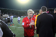 1.11.2014, Sonera Stadion, Helsinki.<br /> Suomen Cup 2013, loppuottelu Helsingin Jalkapalloklubi - FC Inter Turku.<br /> Joni Aho (Inter) hopeamitali kaulassa.