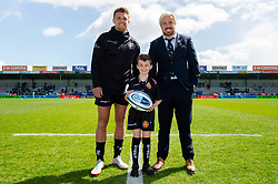 Match mascots prior to kick off with Henry Slade and Jack Nowell - Mandatory by-line: Ryan Hiscott/JMP - 27/04/2019 - RUGBY - Sandy Park - Exeter, England - Exeter Chiefs v Harlequins - Gallagher Premiership Rugby