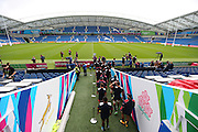 USA players emerge from the tunnel to commence the USA Captain's Run in preparation for the Rugby World Cup at the American Express Community Stadium, Brighton and Hove, England on 18 September 2015.