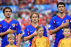 Niko Kranjcar, Luka Modric and Vedran Corluka of Croatia singing national song before the UEFA EURO 2008 Group B soccer match between Austria and Croatia at Ernst-Happel Stadium, on June 8,2008, in Vienna, Austria.  (Photo by Vid Ponikvar / Sportal Images)