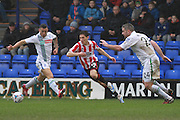 Lee Vaughan, James Rowe and Steve McNulty during the Vanarama National League match between Tranmere Rovers and Cheltenham Town at Prenton Park, Birkenhead, England on 20 February 2016. Photo by Antony Thompson.