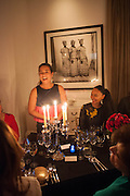 VERONICA MONCHO LOBO; MOUCHETE BELL, Veronica Moncho Lobo dinner. Argentinian fashion designer hosts i pre-BAFTA dinner with  style editor Sophie Goodwin, to showcase her line of red carpet gowns. Albert Hall Mansions. London. SW7