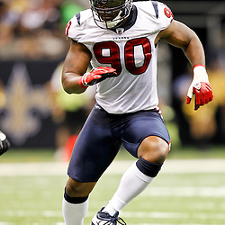 September 25, 2011; New Orleans, LA, USA; Houston Texans linebacker Mario Williams (90) against the New Orleans Saints during the third quarter at the Louisiana Superdome. The Saints defeated the Texans 40-33. Mandatory Credit: Derick E. Hingle