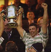 Twickenham, England, RFU Twickenham Stadium, Surrey, 10.12.2002.<br /> 2002 Varsity Rugby - Oxford vs Cambridge<br /> Ali Newmarsh left and Cambridge captain Duncan Blaikie    [Mandatory Credit:Peter SPURRIER/Intersport Images]
