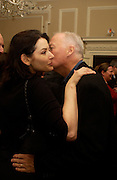 Nigella Lawson and David Gilmour, Book launch of Truth or Dare,  edited by Justine Picardie. House of St. Barnabus. Sales of the book at the launch went towards Breast  Cancer  Care. Greek St. London. 30 September 2004. SUPPLIED FOR ONE-TIME USE ONLY-DO NOT ARCHIVE. © Copyright Photograph by Dafydd Jones 66 Stockwell Park Rd. London SW9 0DA Tel 020 7733 0108 www.dafjones.com