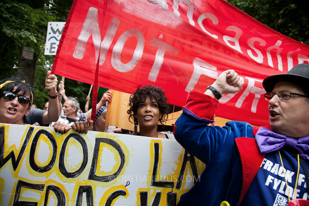 Representatives from Frack Free Fylde has come to march as part of the Force from the North movement.  Thousands turned out for a march of solidarity against fracking in Balcombe. The village Balcombe in Sussex is the  centre of fracking by the company Cuadrilla. The march saw anti-fracking movements from the Lancashire and the North, Wales and other communities around the UK under threat of gas and oil exploration by fracking.