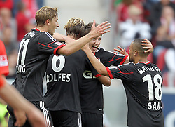 21.09.2013, Coface Arena, Mainz, GER, 1. FBL, 1. FSV Mainz 05 vs Bayer 04 Leverkusen, 6. Runde, im Bild, Torjubel 0:3 Leverkusen, links: Kiessling, Stefan (11)/ Bayer 04 Leverkusen, mitte/li.: Rolfes, Simon (6)/ Bayer 04 Leverkusen, mitte/re.: Kruse, Robbie (23)/ Bayer 04 Leverkusen, rechts:Sam, Sidney (18)/ Bayer 04 Leverkusen, torjubel, treffer, tor, freude, goal, jubel, spass, freuen, jubeln, feiernd, applaudierend, Applaus, feiert, Emotion,  // during the German Bundesliga 6th round match between 1. FSV Mainz 05 and Bayer 04 Leverkusen at the Coface Arena, Mainz, Germany on 2013/09/21. EXPA Pictures © 2013, PhotoCredit: EXPA/ Eibner/ Kellner<br /> <br /> ***** ATTENTION - OUT OF GER *****