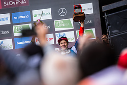 Monika Hrastnik of Slovenia during trophy ceremony at Mercedes-Benz UCI Mountain Bike World Cup competition final day in Bike Park Pohorje, Maribor on 28th of April, 2019, Slovenia.  . Photo by Grega Valancic / Sportida