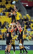 Hurricanes number eight Victor Vito beats Liam Messam to lineout ball. Super 15 rugby match - Hurricanes v Chiefs at Westpac Stadium, Wellington, New Zealand on Saturday, 12 March 2011. Photo: Dave Lintott / photosport.co.nz
