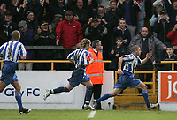 Photo: Paul Thomas.<br /> Chester City v Nottingham Forest. The FA Cup.<br /> 03/12/2005.<br /> <br /> Chester's Ryan Lowe celebrates his penalty goal.