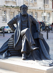 The UK's first statue of Charles Dickens unveiled in Portsmouth,Hampshire,UK Friday, 7th February 2014. Picture by i-Images