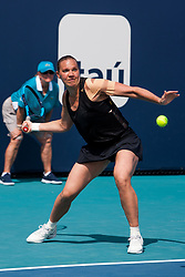 March 18, 2019 - Miami Gardens, FL, U.S. - MIAMI GARDENS, FL - MARCH 18: Kaia Kanepi (EST) in action during the Miami Open on March 18, 2019 at Hard Rock Stadium in Miami Gardens, FL. (Photo by Aaron Gilbert/Icon Sportswire) (Credit Image: © Aaron Gilbert/Icon SMI via ZUMA Press)