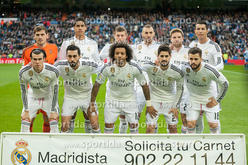 14.02.2015, Estadio Santiago Bernabeu, Madrid, ESP, Primera Division, Real Madrid vs Deportivo La Coruna, 23. Runde, im Bild Real Madrid&acute;s Iker Casillas, Raphael Varane, Cristiano Ronaldo, Toni Kroos, Karim Benzema, Gareth Bale, Marcelo Vieira, Alvaro Arbeloa, Nacho Fernandez, Isco and Asier Illarramendi // during the Spanish Primera Division 23rd round match between Real Madrid vs Deportivo La Coruna at the Estadio Santiago Bernabeu in Madrid, Spain on 2015/02/14. EXPA Pictures &copy; 2015, PhotoCredit: EXPA/ Alterphotos/ Luis Fernandez<br /> <br /> *****ATTENTION - OUT of ESP, SUI*****