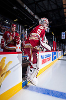 REGINA, SK - MAY 19: Evan Fitzpatrick #31 of Acadie-Bathurst Titan enters the ice against the Swift Current Broncos at the Brandt Centre on May 19, 2018 in Regina, Canada. (Photo by Marissa Baecker/CHL Images)