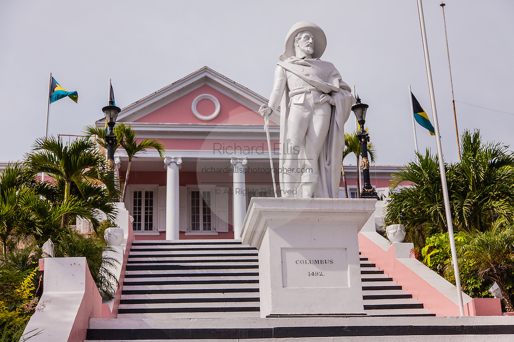 Christopher Columbus statue in front of the Government House in Nassau , Bahamas.