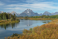 Mount Moran reflected in still waters of the Snake River at Oxbow Bend, Grand Teton National Park Wyoming