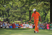 Rickie Fowler reacts to missing his parr put on the 16th hole during the final round of the Wells Fargo Championship at the Quail Hollow Club on May 6, 2012 in Charlotte, N.C. Fowler won in a three-way playoff with Rory McIllroy and D.A. Points...©2012 Scott A. Miller.