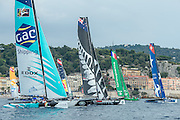 GAC Pindar, Emirates Team New Zealand, Groupama and Real Team.  Day four of the Extreme Sailing Series Regatta at Nice. 5/10/2014