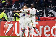 Tanguy Ndombele of Lyon and Rafael of Lyon Nabil Fekir of Lyon during the UEFA Europa League, Round of 32, 1st leg football match between Olympique Lyonnais and Villarreal on February 15, 2018 at Groupama stadium at Decines-Charpieu near Lyon, France - Photo Romain Biard / Isports / ProSportsImages / DPPI