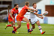 Bradford Bulls centre Lee Smith (1) pass the ball during the Kingstone Press Championship match between Sheffield Eagles and Bradford Bulls at, The Beaumont Legal Stadium, Wakefield, United Kingdom on 3 September 2017. Photo by Simon Davies.