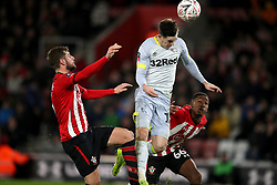 Derby County's Tom Lawrence has a shot on goal in the second half of extra time during the Emirates FA Cup third round replay match at St Mary's Stadium.