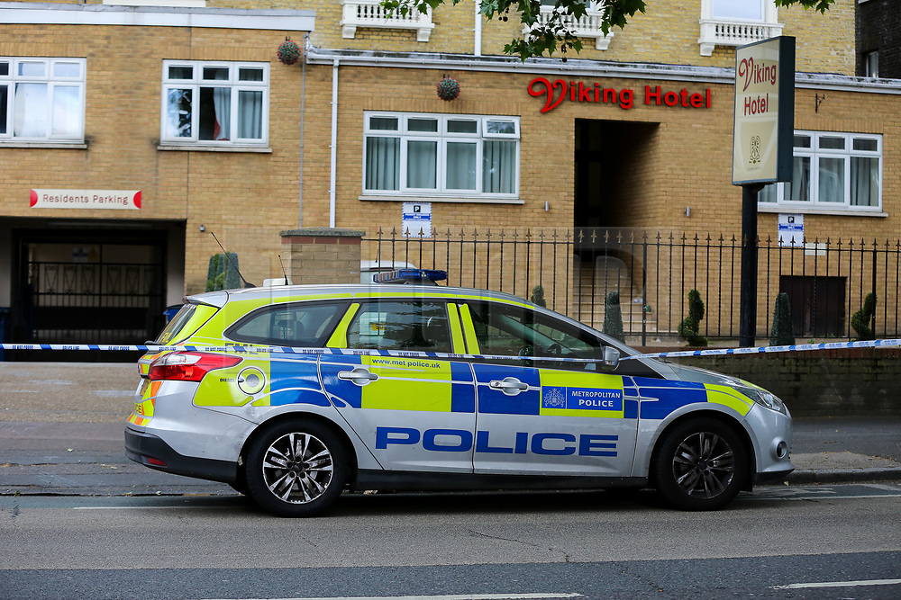 © Licensed to London News Pictures. 28/05/2019. London, UK. London, UK. A crime scene on Romford Road, Forest Gate, East London where a man in his 30s died in the early hours of this morning following a flight on Warwick Road.<br /> Police officers were called after the victim was found suffering from stab injuries and he died later in the hospital. Photo credit: Dinendra Haria/LNP CAPTION UPDATED WITH CORRECT DATE