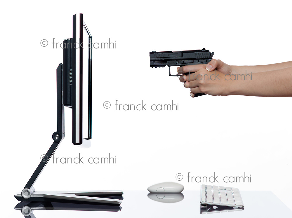 communication between human hand and a computer display monitor on isolated white background expressing shooting rejection concept