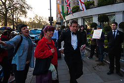 """London, April 21st 2015. Protesters demonstrate outside the Property Awards at the Grosvenor, saying that """"property developers should not be congratulating each other for the profits they have made on the back of mass gentrification in London"""". London faces a severe housing shortage forkey workers and  people on low incomes, with developers snapping up housing to be replaced by expensive high-rise apoartment complexes which are out of reach for many."""