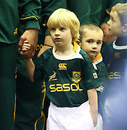 One of the South African team mascots prepares to run onto the pitch during the match between between the Barbarians and South Africa at Twickenham, London, on Saturday 4th December 2010. (Photo by Andrew Tobin/SLIK images)