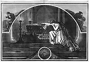 Lady Liberty (Columbia) weeping over Lincoln's body. Harper's Weekly, 1865 by Thomas Nast. President Lincoln's death is mourned by the nation
